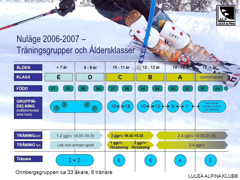 Nuläge 2006-2007 – Träningsgrupper och Åldersklasser