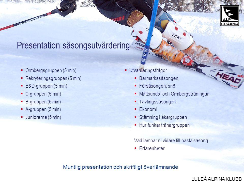 Presentation säsongsutvärdering