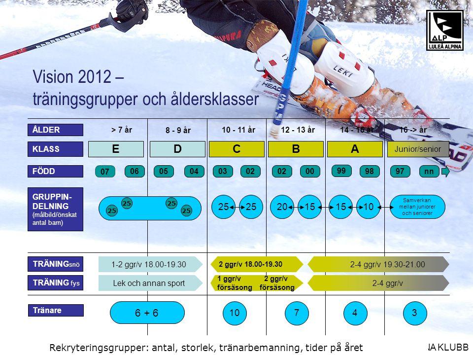 Vision 2012 – träningsgrupper och åldersklasser