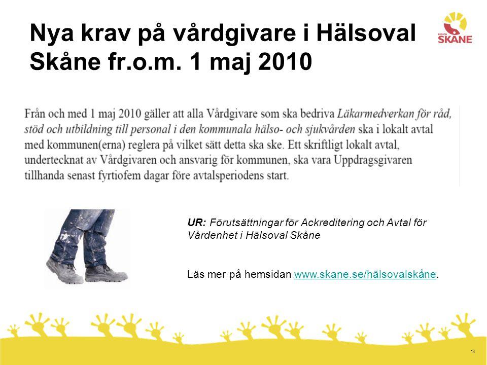 Nya krav på vårdgivare i Hälsoval Skåne fr.o.m. 1 maj 2010