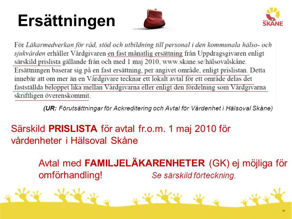 Ersättningen (UR: Förutsättningar för Ackreditering och Avtal för Vårdenhet i Hälsoval Skåne)