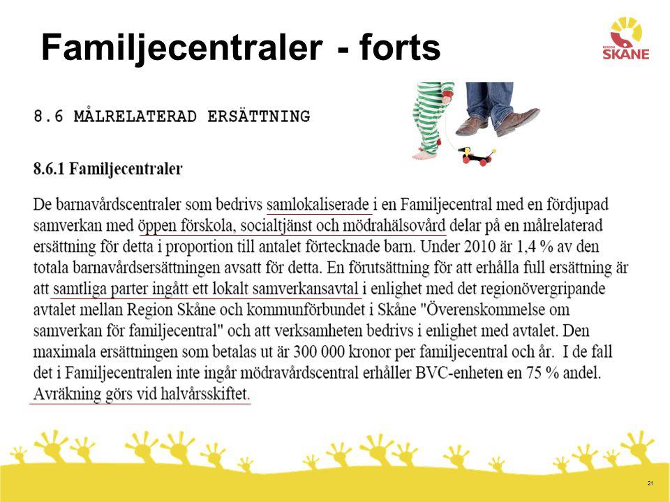 Familjecentraler - forts