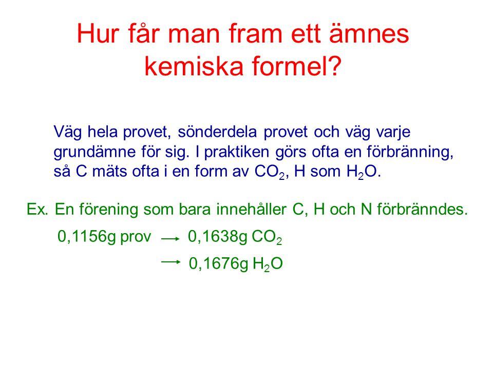 Hur får man fram ett ämnes kemiska formel