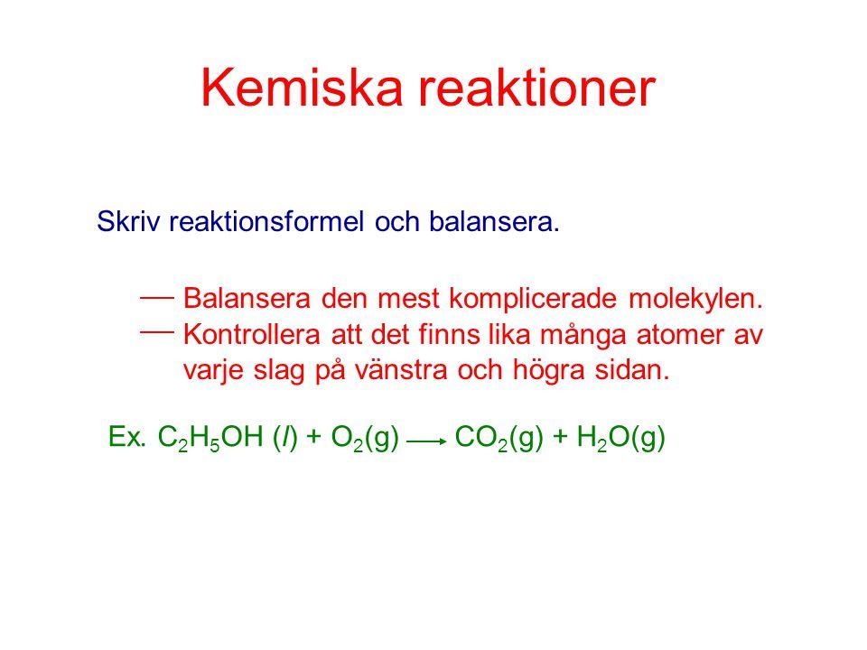 Kemiska reaktioner Skriv reaktionsformel och balansera.
