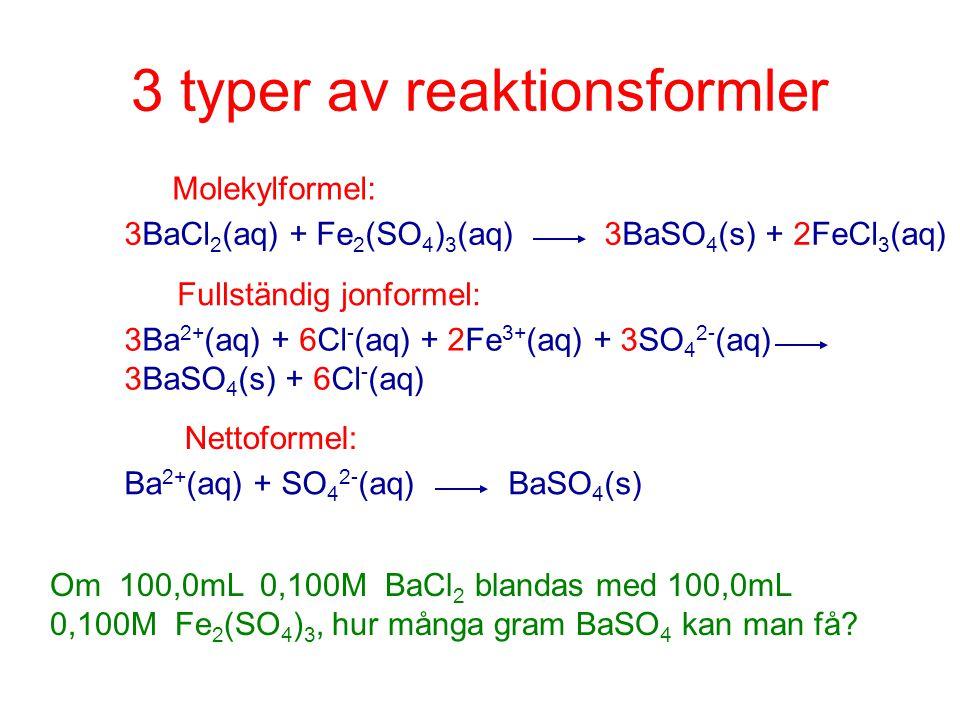 3 typer av reaktionsformler