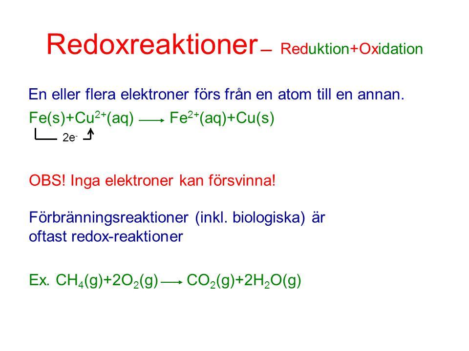 Redoxreaktioner Reduktion+Oxidation