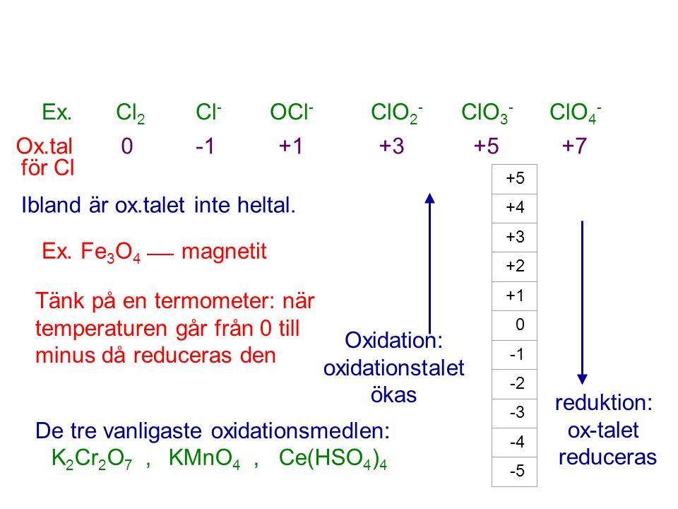 Oxidation: oxidationstalet ökas