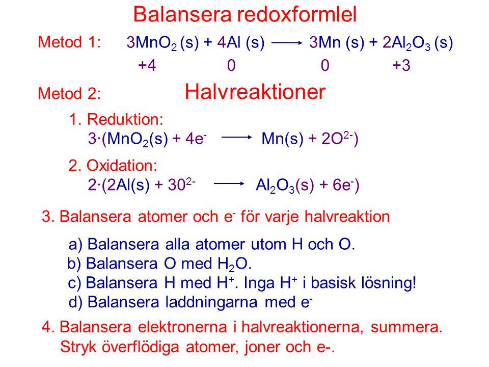 Balansera redoxformlel