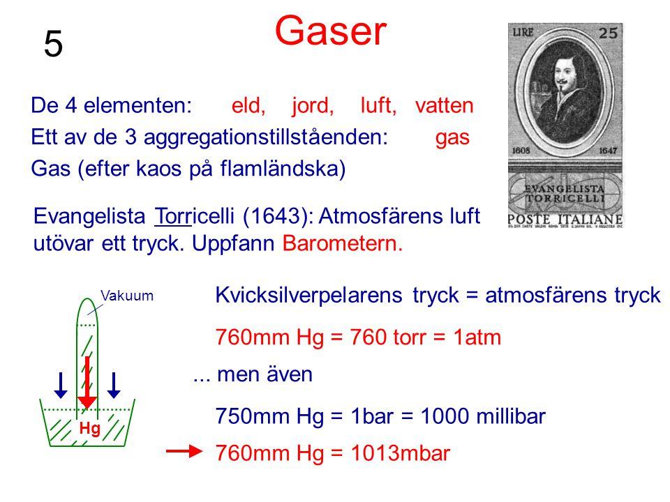 Gaser 5 De 4 elementen: eld, jord, luft, vatten