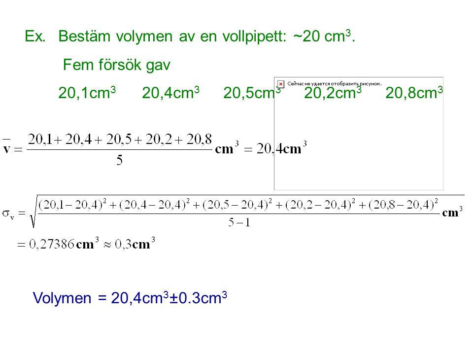 Ex. Bestäm volymen av en vollpipett: ~20 cm3. Fem försök gav. 20,1cm3 20,4cm3 20,5cm3 20,2cm3 20,8cm3.