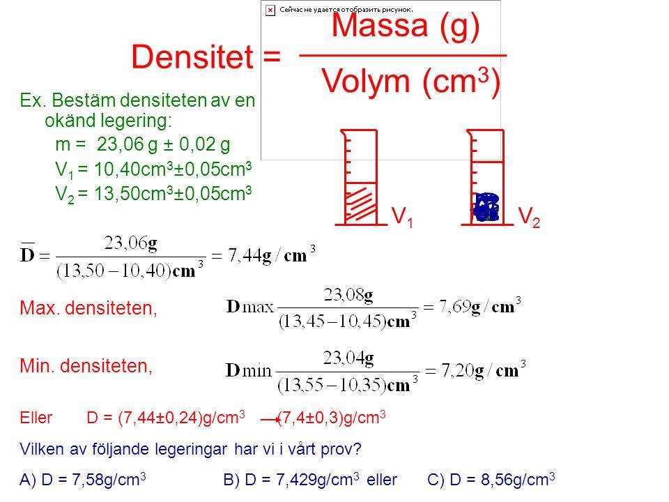 Massa (g) ___________ Densitet = Volym (cm3) V1 V2