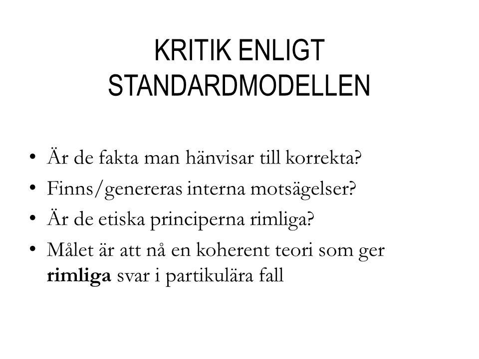 KRITIK ENLIGT STANDARDMODELLEN