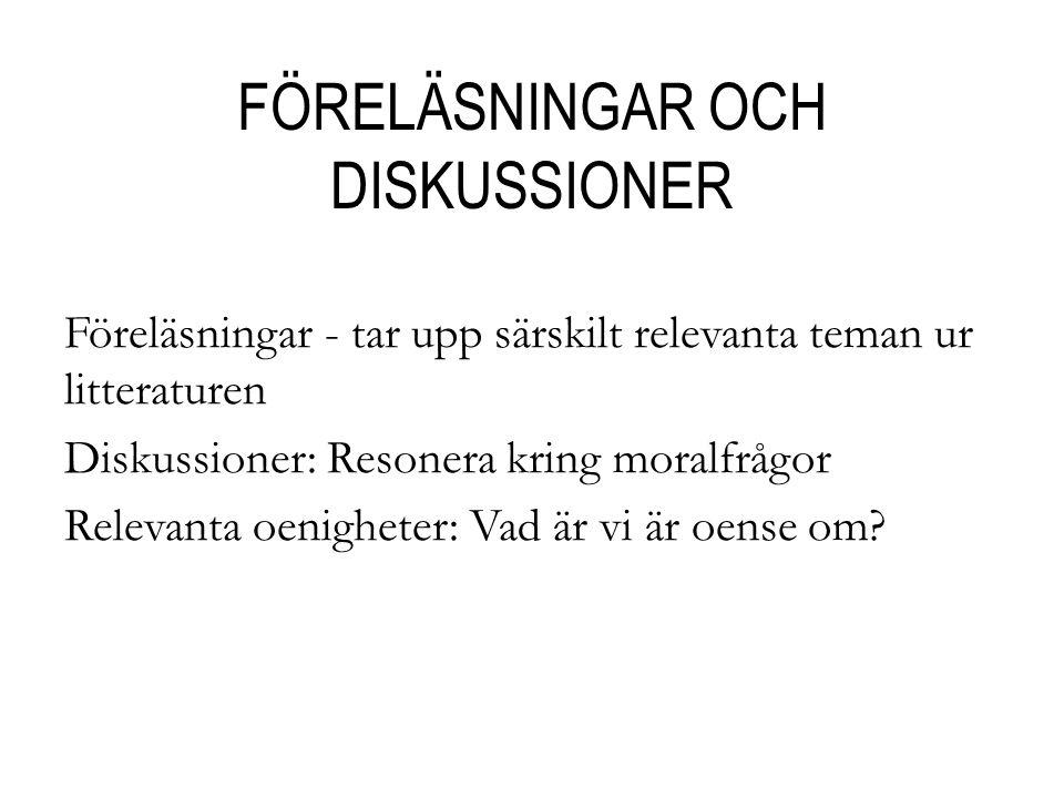 FÖRELÄSNINGAR OCH DISKUSSIONER
