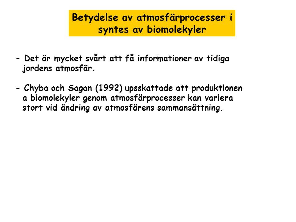 Betydelse av atmosfärprocesser i syntes av biomolekyler