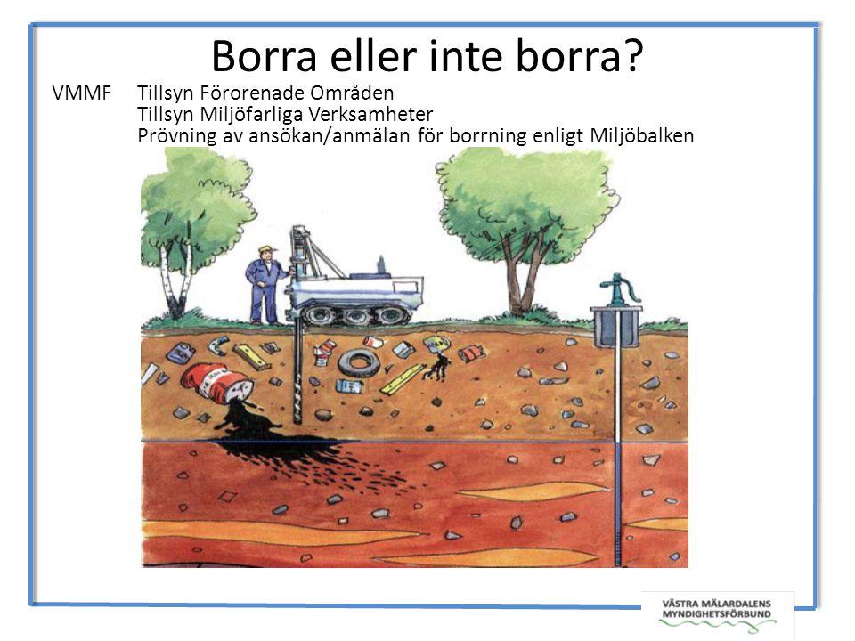 Borra eller inte borra VMMF Tillsyn Förorenade Områden
