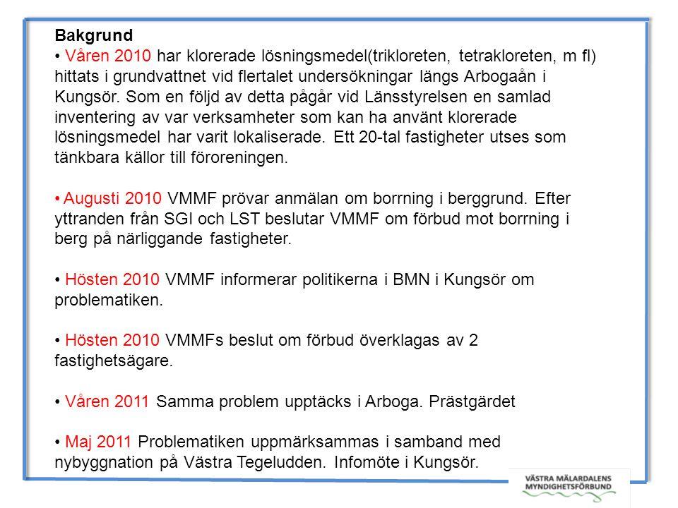 Bakgrund Våren 2010 har klorerade lösningsmedel(trikloreten, tetrakloreten, m fl)