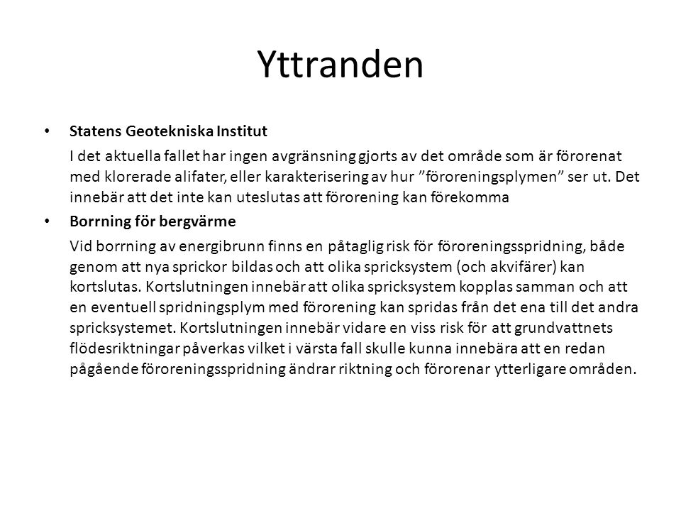 Yttranden Statens Geotekniska Institut