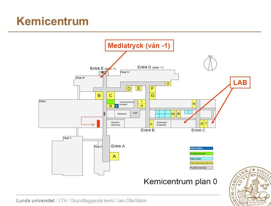 Kemicentrum Mediatryck (vån -1) LAB