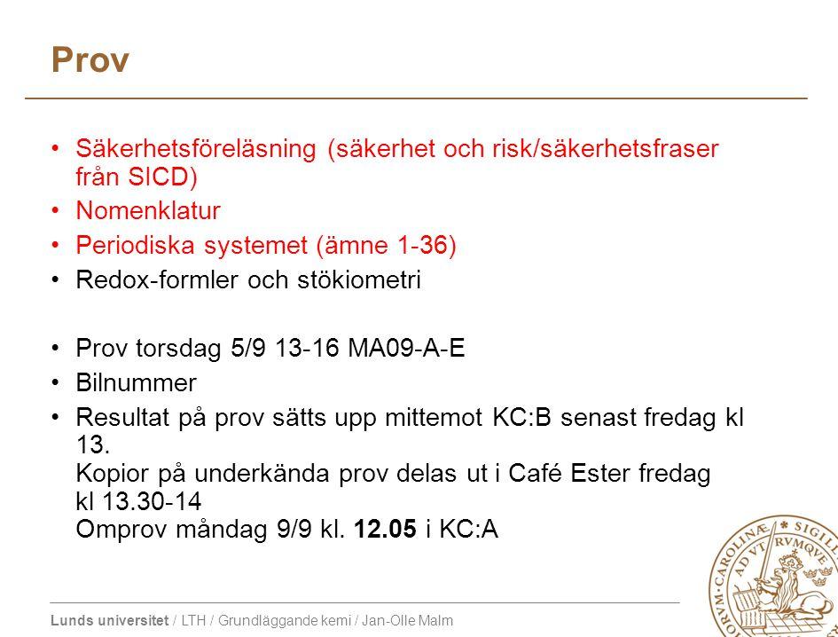 Prov Säkerhetsföreläsning (säkerhet och risk/säkerhetsfraser från SICD) Nomenklatur. Periodiska systemet (ämne 1-36)