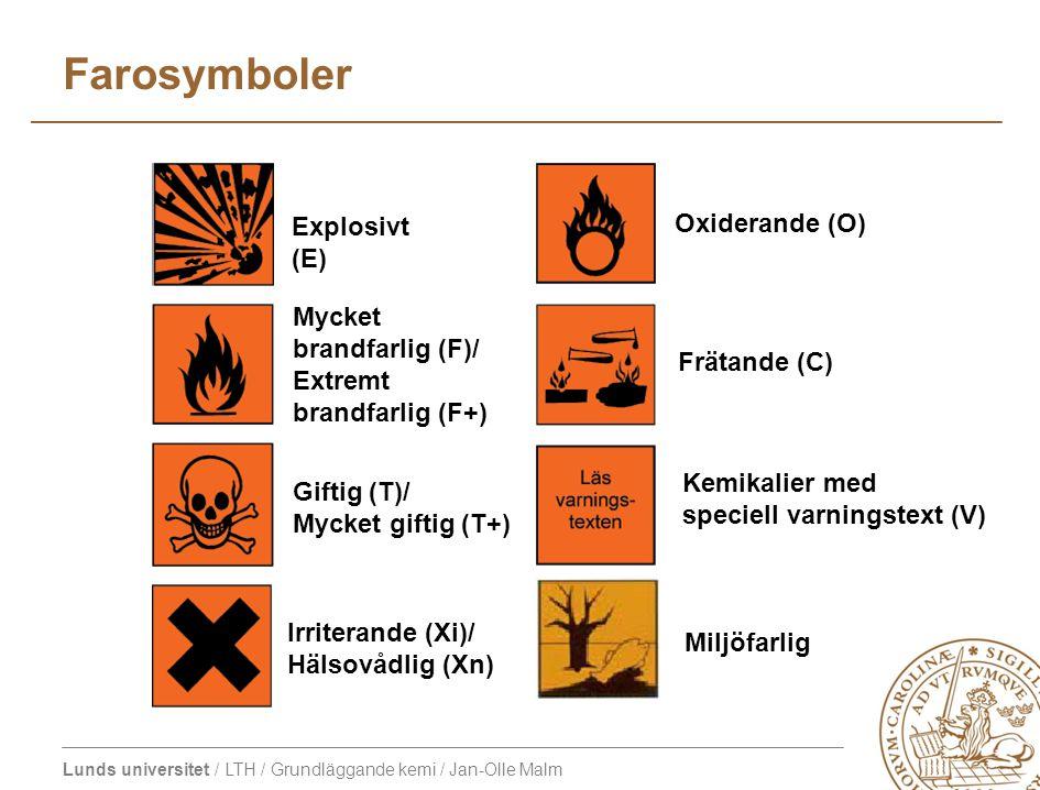 Farosymboler Explosivt (E) Oxiderande (O) Mycket brandfarlig (F)/