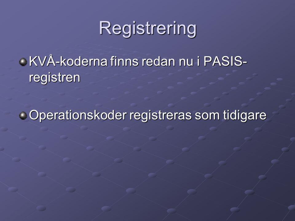 Registrering KVÅ-koderna finns redan nu i PASIS-registren