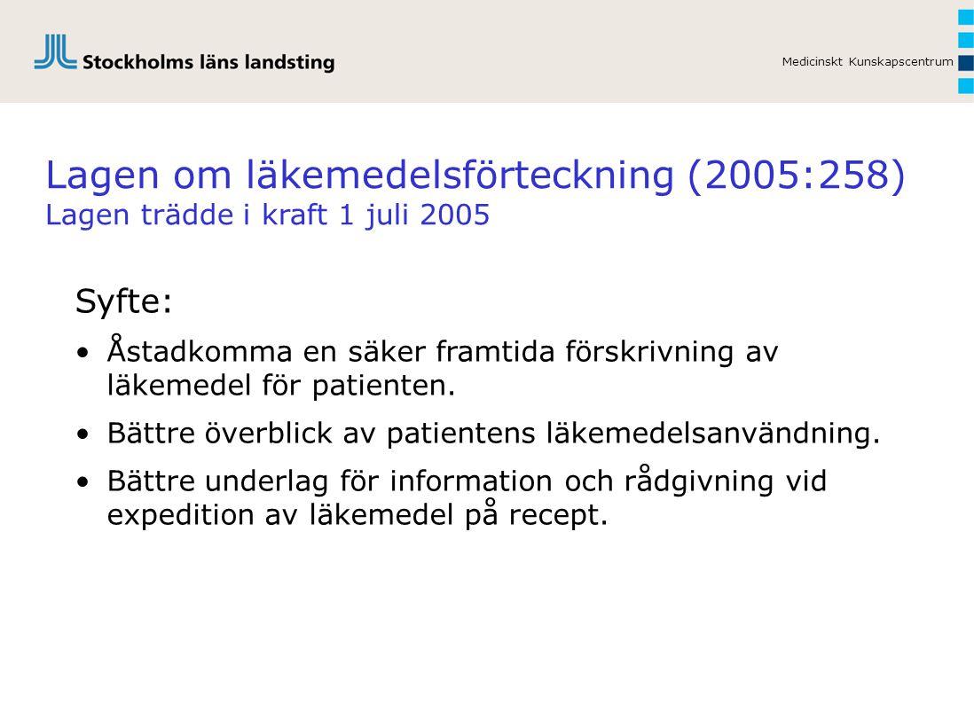 Lagen om läkemedelsförteckning (2005:258) Lagen trädde i kraft 1 juli 2005