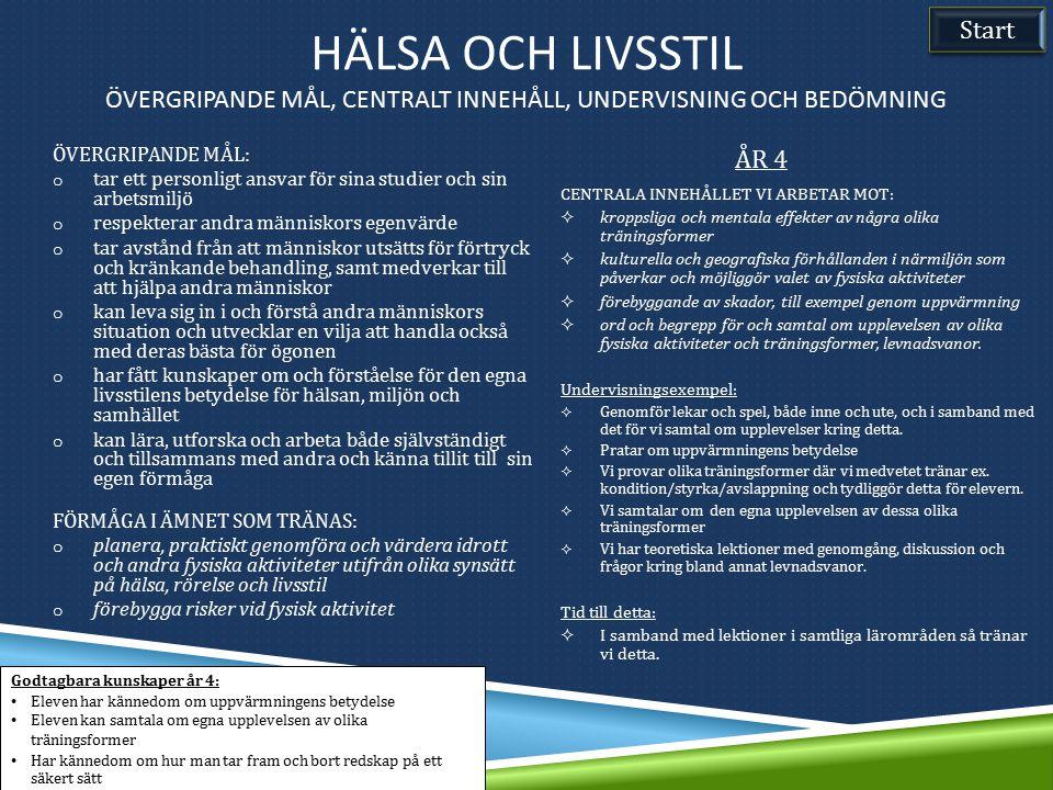 Hälsa och livsstil Övergripande mål, Centralt innehåll, undervisning och bedömning