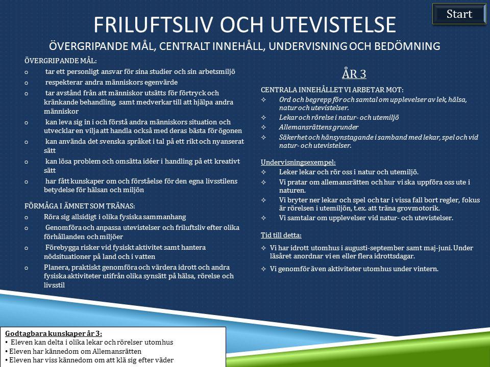 Friluftsliv och utevistelse Övergripande mål, Centralt innehåll, undervisning och bedömning