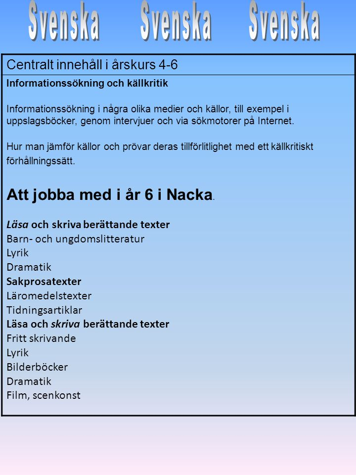 Svenska Svenska Svenska Att jobba med i år 6 i Nacka.