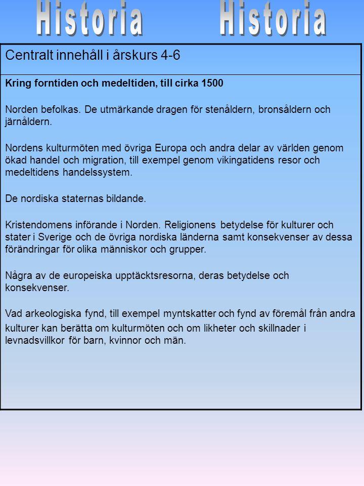 Historia Historia Centralt innehåll i årskurs 4-6