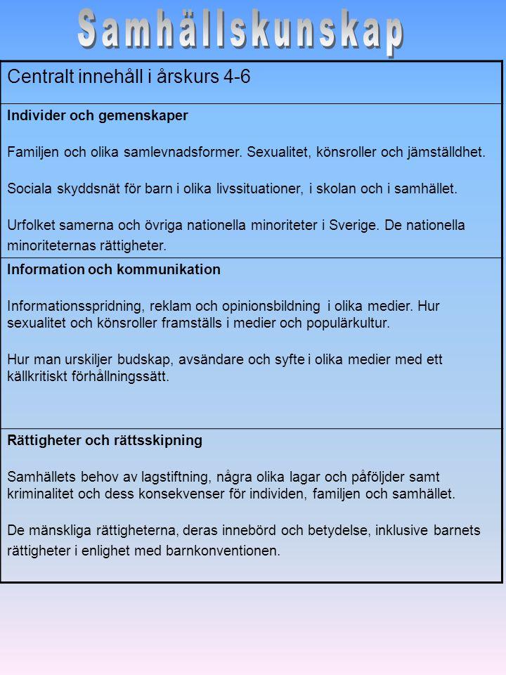 Samhällskunskap Centralt innehåll i årskurs 4-6