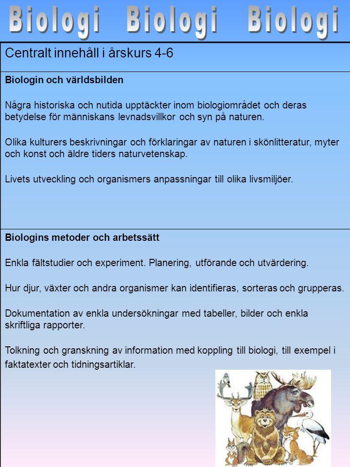 Biologi Biologi Biologi Centralt innehåll i årskurs 4-6