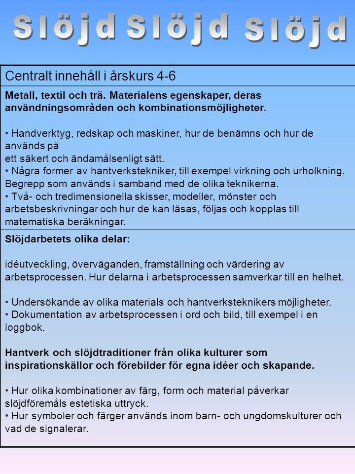 Centralt innehåll i årskurs 4-6