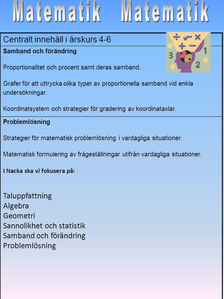 Matematik Matematik Centralt innehåll i årskurs 4-6 Taluppfattning