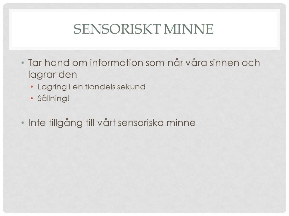 Sensoriskt minne Tar hand om information som når våra sinnen och lagrar den. Lagring i en tiondels sekund.