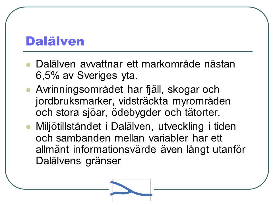 Dalälven Dalälven avvattnar ett markområde nästan 6,5% av Sveriges yta.