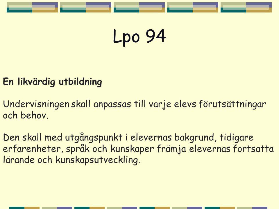 Lpo 94 En likvärdig utbildning