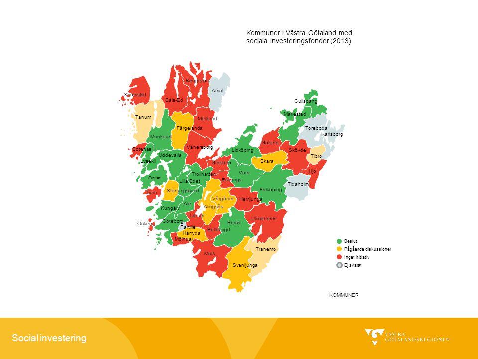Kommuner i Västra Götaland med sociala investeringsfonder (2013)