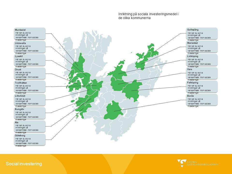 Inriktning på sociala investeringsmedel i de olika kommunerna