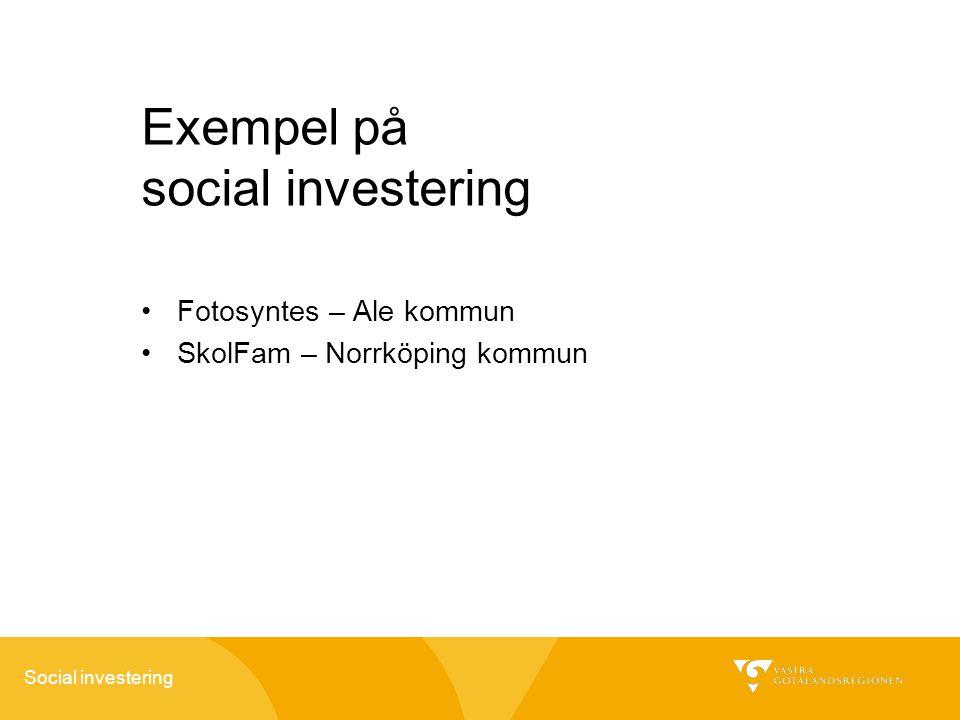 Exempel på social investering