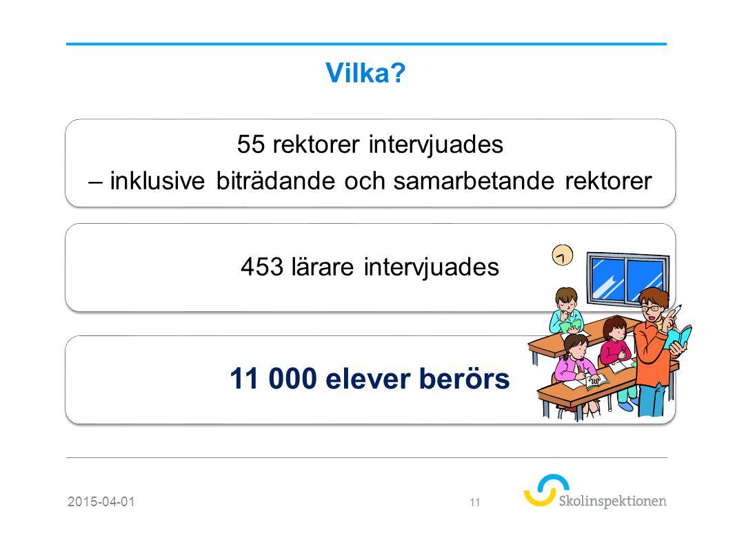 11 000 elever berörs Vilka 55 rektorer intervjuades