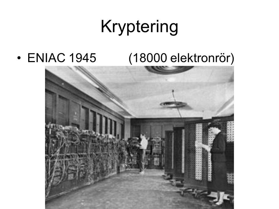 Kryptering ENIAC 1945 (18000 elektronrör)