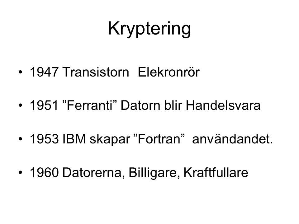 Kryptering 1947 Transistorn Elekronrör