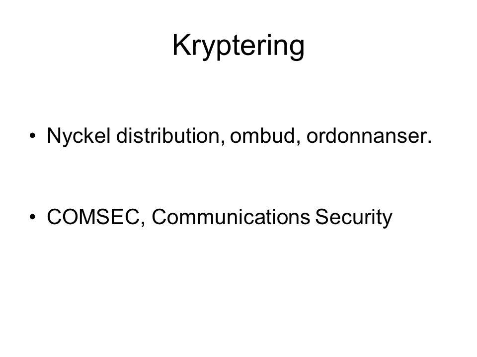 Kryptering Nyckel distribution, ombud, ordonnanser.