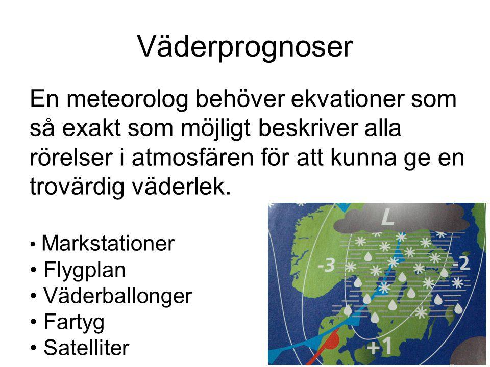 Väderprognoser En meteorolog behöver ekvationer som