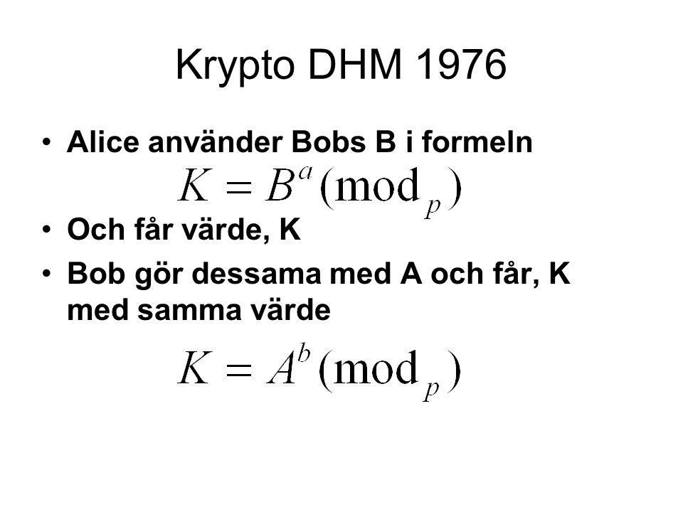 Krypto DHM 1976 Alice använder Bobs B i formeln Och får värde, K