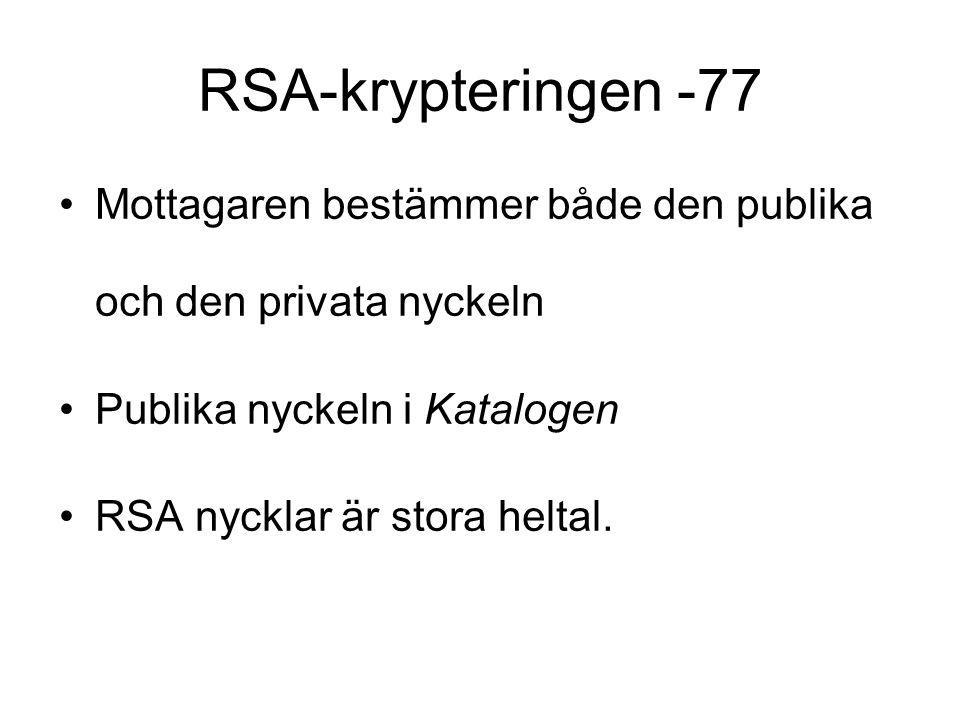 RSA-krypteringen -77 Mottagaren bestämmer både den publika och den privata nyckeln. Publika nyckeln i Katalogen.