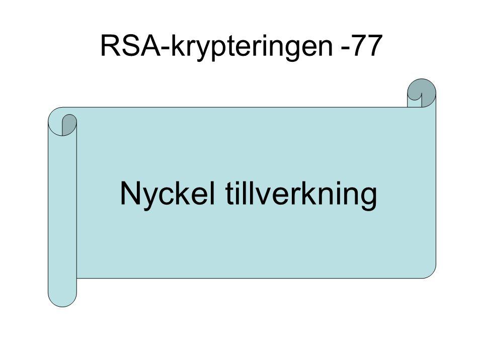 RSA-krypteringen -77 Nyckel tillverkning