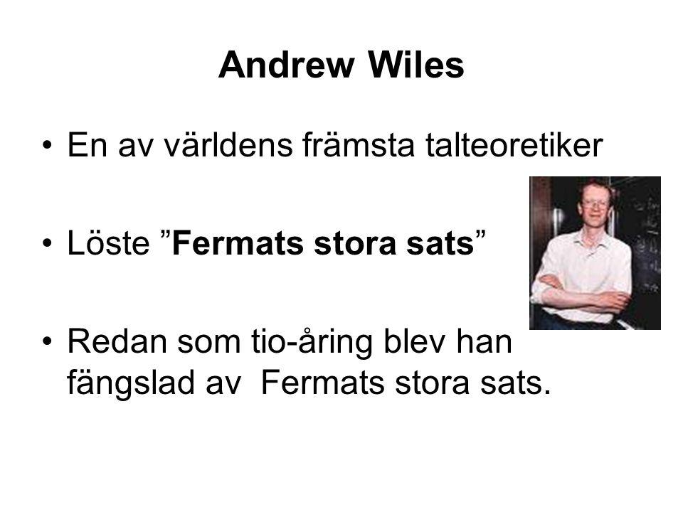 Andrew Wiles En av världens främsta talteoretiker