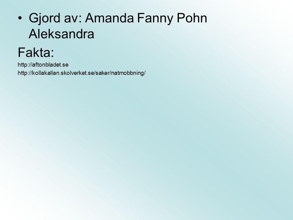 Gjord av: Amanda Fanny Pohn Aleksandra Fakta: